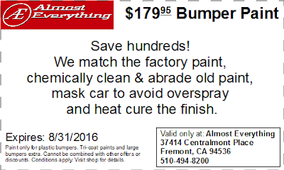 Discount Coupon $179.95 Bumper Paint Sale August 2016
