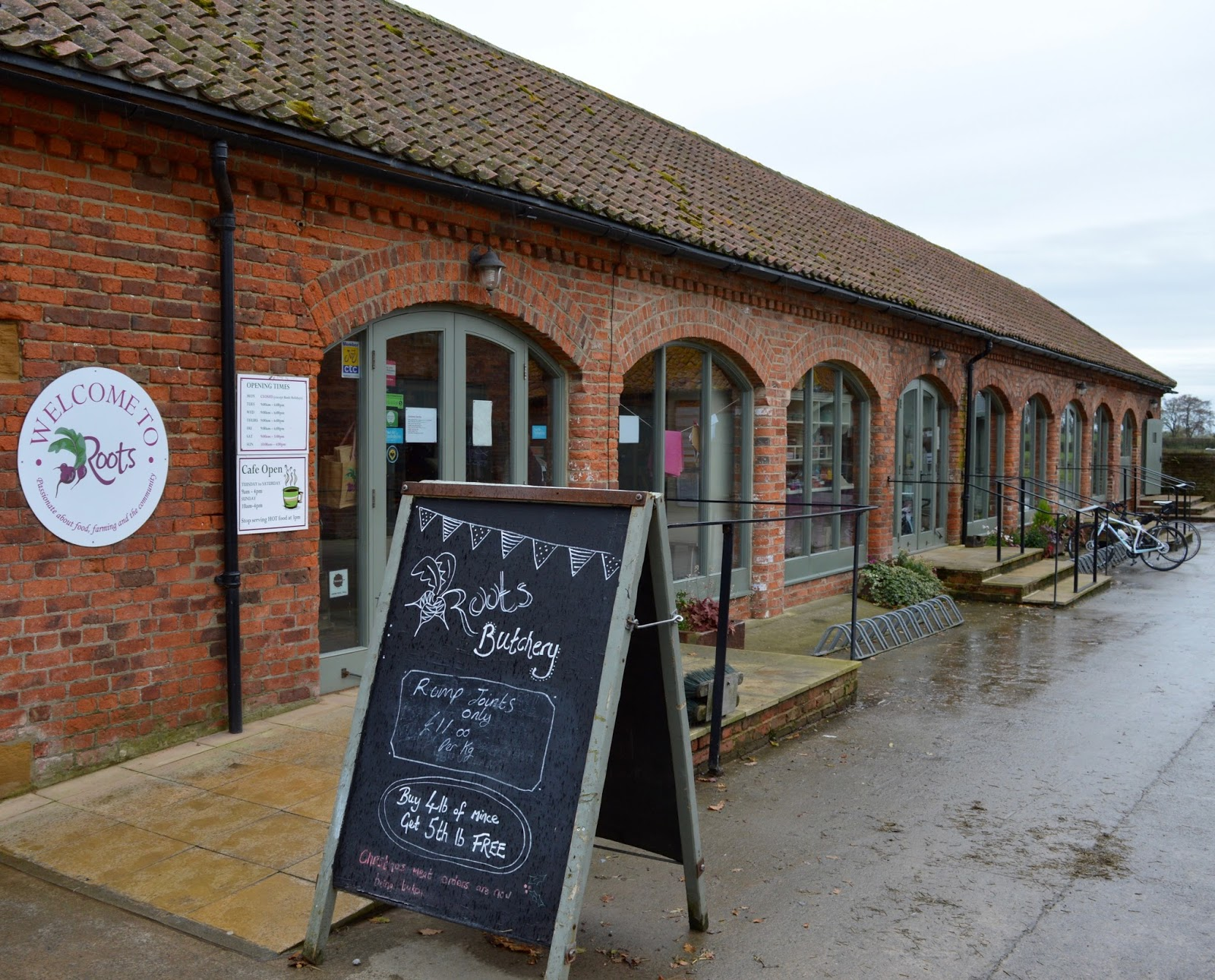 Family Sunday Lunch Menu at Roots Farm Shop & Cafe near Northallerton in North Yorkshire | A Review - exterior shot of farm shop