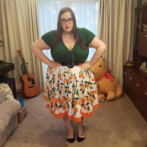 Pin Up Girl Clothing oranges plus size skirt