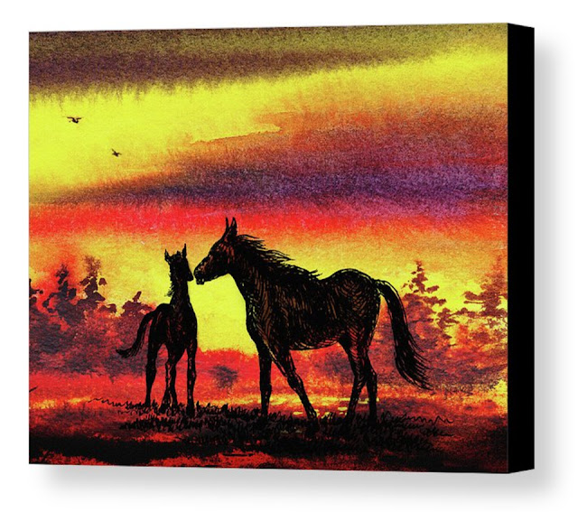 Watercolour Artist Illustrator Mare and Foal at sunrise