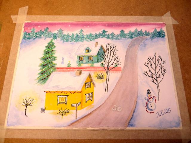Christmas Card Scenery Painting Joulukorttimaalaus