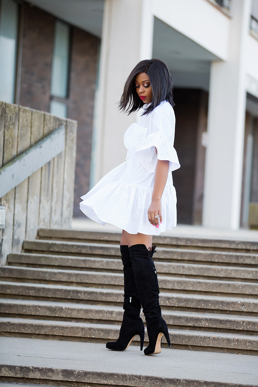 shirtdress and OTK boots, www.jadore-fashion.com
