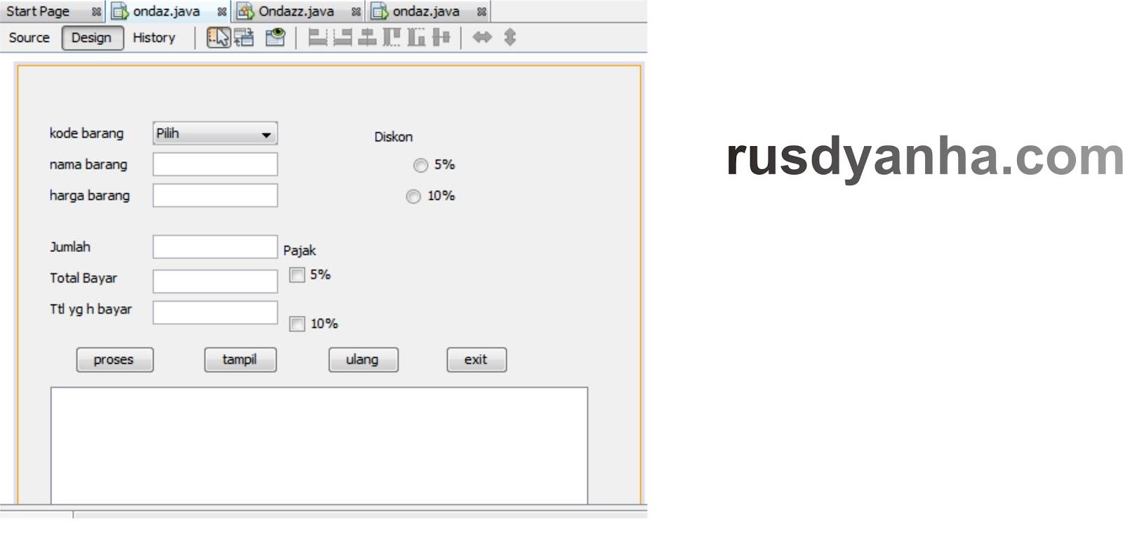 Contoh Program Java Jform Penjualan Rusdyanha