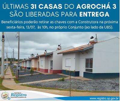 Últimas 31 casas do Agrochá 3 são liberadas para entrega