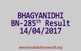 BHAGYANIDHI Lottery BN 285 Results 14-4-2017