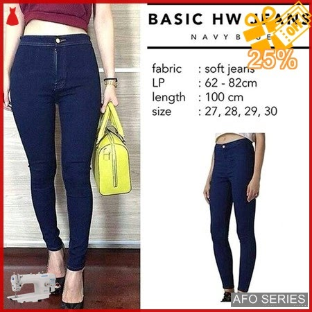 AFO111 Model Fashion HW Jeans Navy Highwaist Modis Murah BMGShop