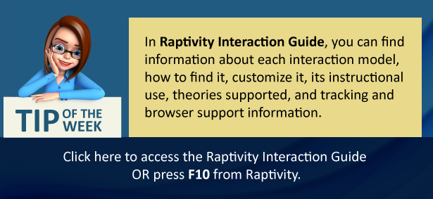An image explaining uses of Raptivity Interaction Guide and how to access it