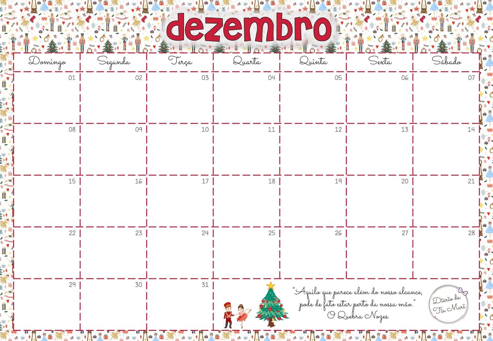 Calendário da Professora - Dezembro/2019