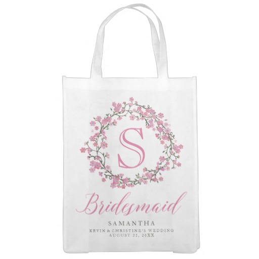 Personalized Floral Wreath Monogram Bridesmaid Tote Bag