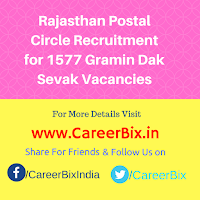 Rajasthan Postal Circle Recruitment for 1577 Gramin Dak Sevak Vacancies