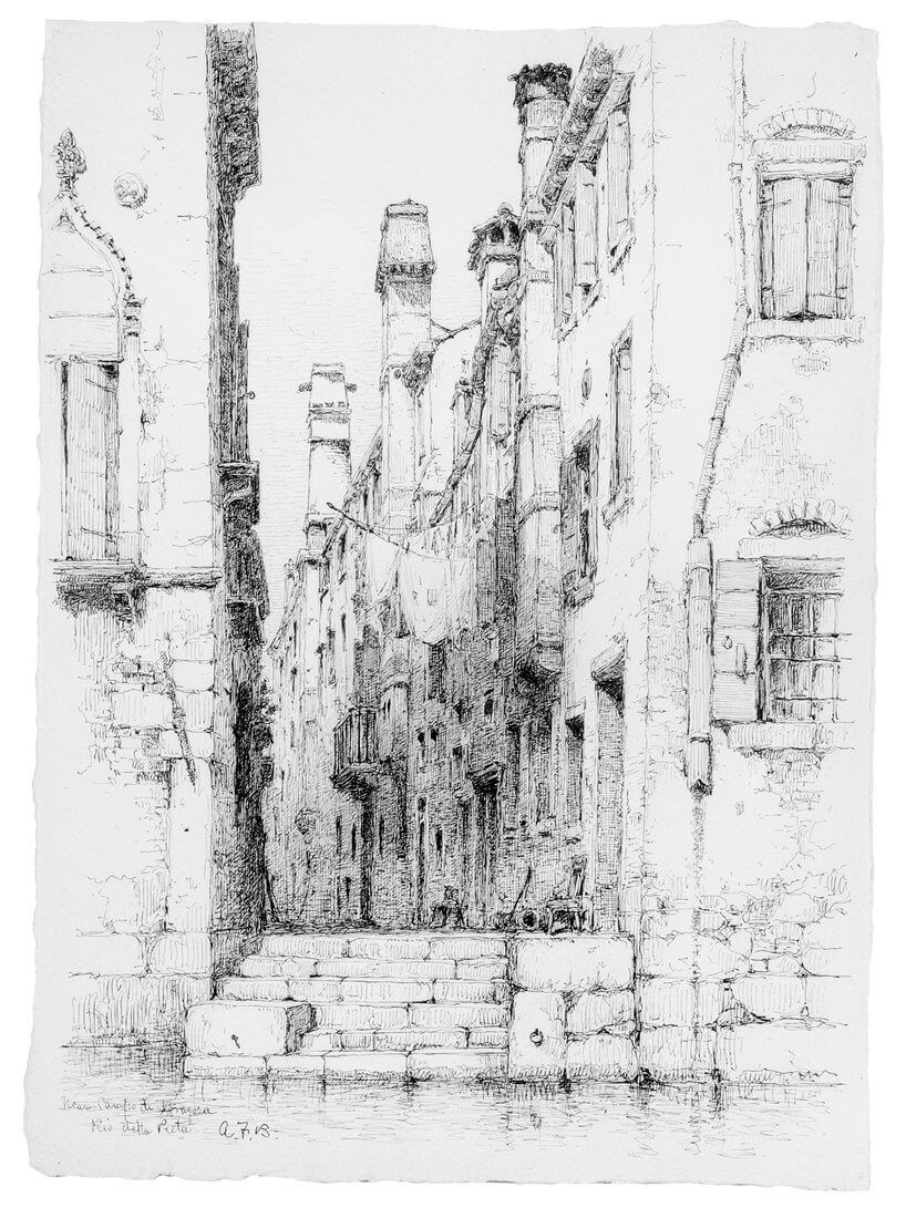 09-Rio-della-Pieta-Venice-Andrew-F-Bunner-Venice-Urban-Architectural-Drawings-from-the-1800s-www-designstack-co