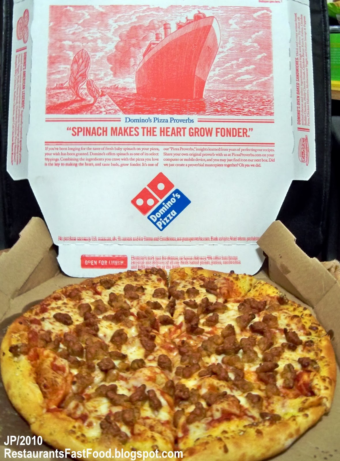 Domino S Pizza Large Sausage Pie Box
