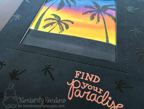 tropical | palm trees | sunset | handmade card | cardmaking | clear stamps | newton's nook designs | kimpletekreativity.blogspot.com | paradise