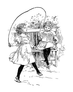 Vintage line drawing of two girls playing outside. One is reading and the other is playing with a jump rope.