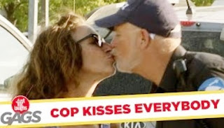 Funny Video – Policeman French Kisses Everybody He Arrests