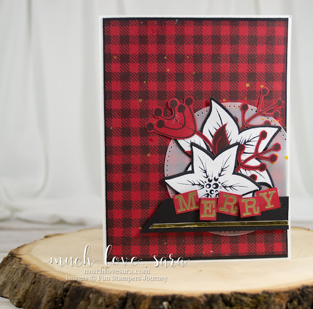 Handmade Christmas Card with red and black plaid background, and gold and white embelishment.  Featuring Fun Stampers Journey products.