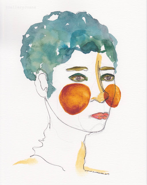 watercolor portrait, gallery juana