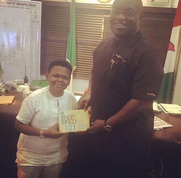 "Osita Iheme presents his book ""Inspired 101"" to Gov Ikpeazu"