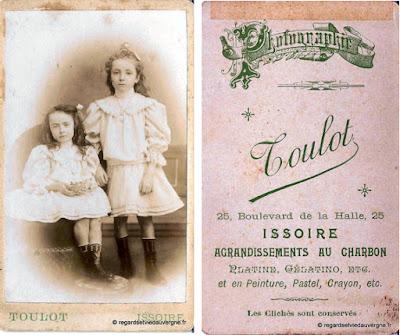 carte cabinet, carte de visite Toulot, Issoire