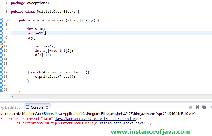 multiple catch blocks in java