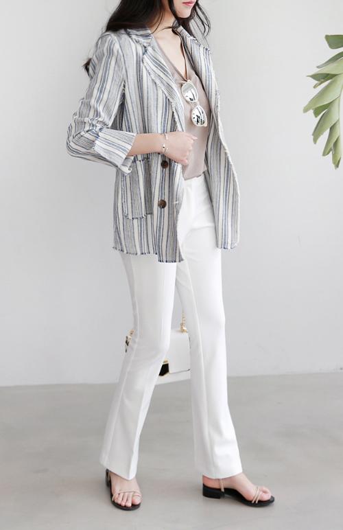 Striped Frayed Edge Jacket