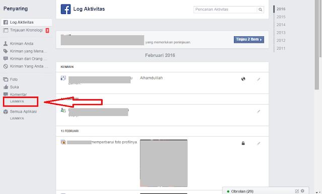menghapus riwayat pencarian di fb