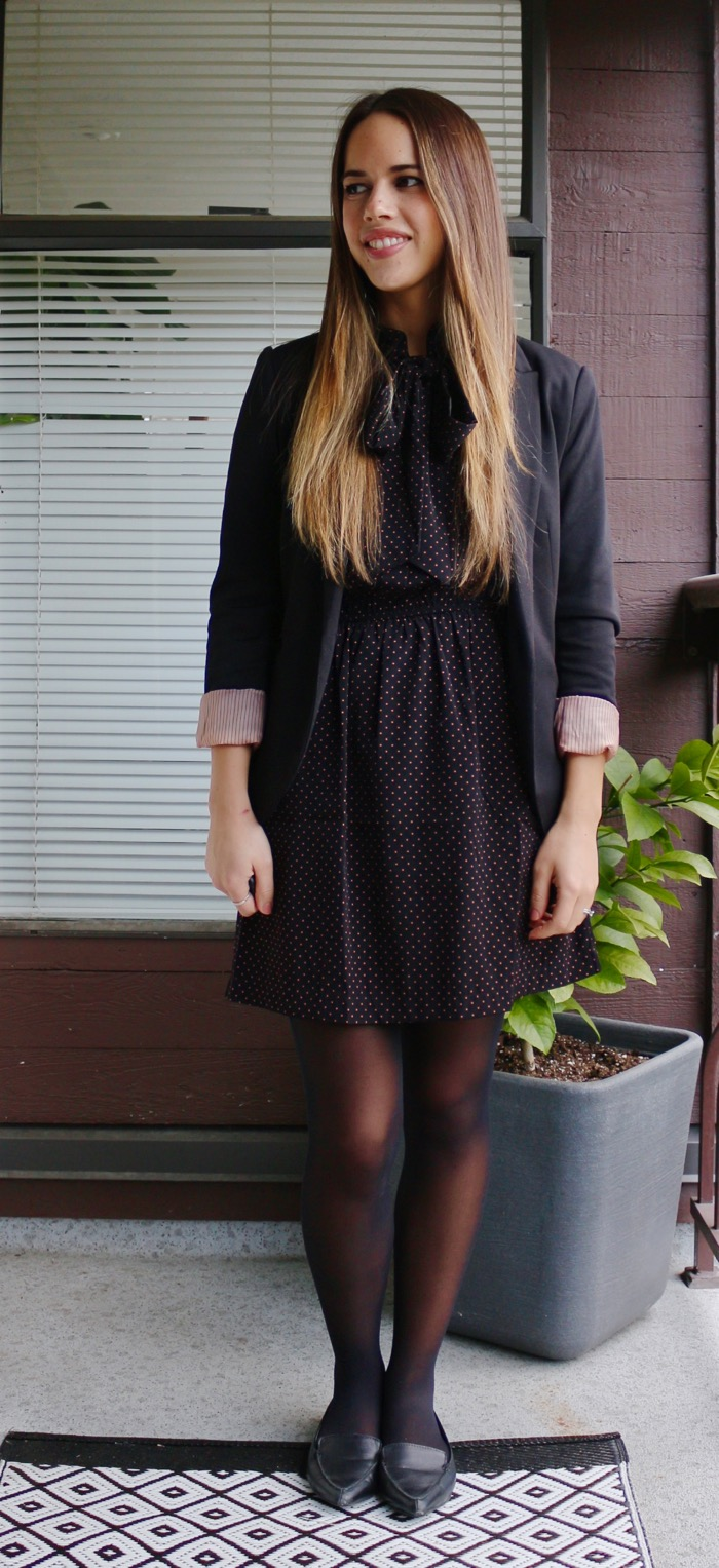 Jules in Flats - Tie-Neck Dot Dress with Blazer