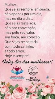 Município e Fundo Social comemoram o Dia Internacional da Mulher na sexta 08/03 com música, flores e programa contra a violência