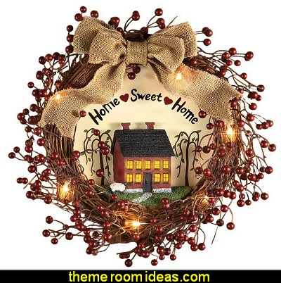Lighted Primitive Country Wreath  primitive americana decorating style - folk art - heartland decor - rustic Americana home decor - Colonial & Country style decorating Americana bedroom designs - Primitive Country Rustic decor