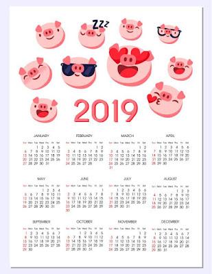 Hermoso calendario de cerditos para el año 2019