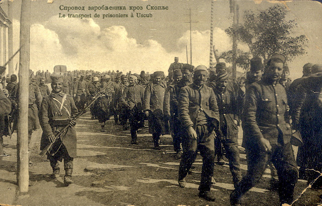 Turkish prisoners in Skopje during the First Balkan War (Serbian postcard)