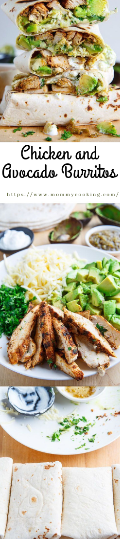 Chicken and Avocado Burritos #recipe #healthy