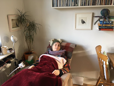 ME Advocates Ireland (MEAI) member Corina Duyn recovering in recliner