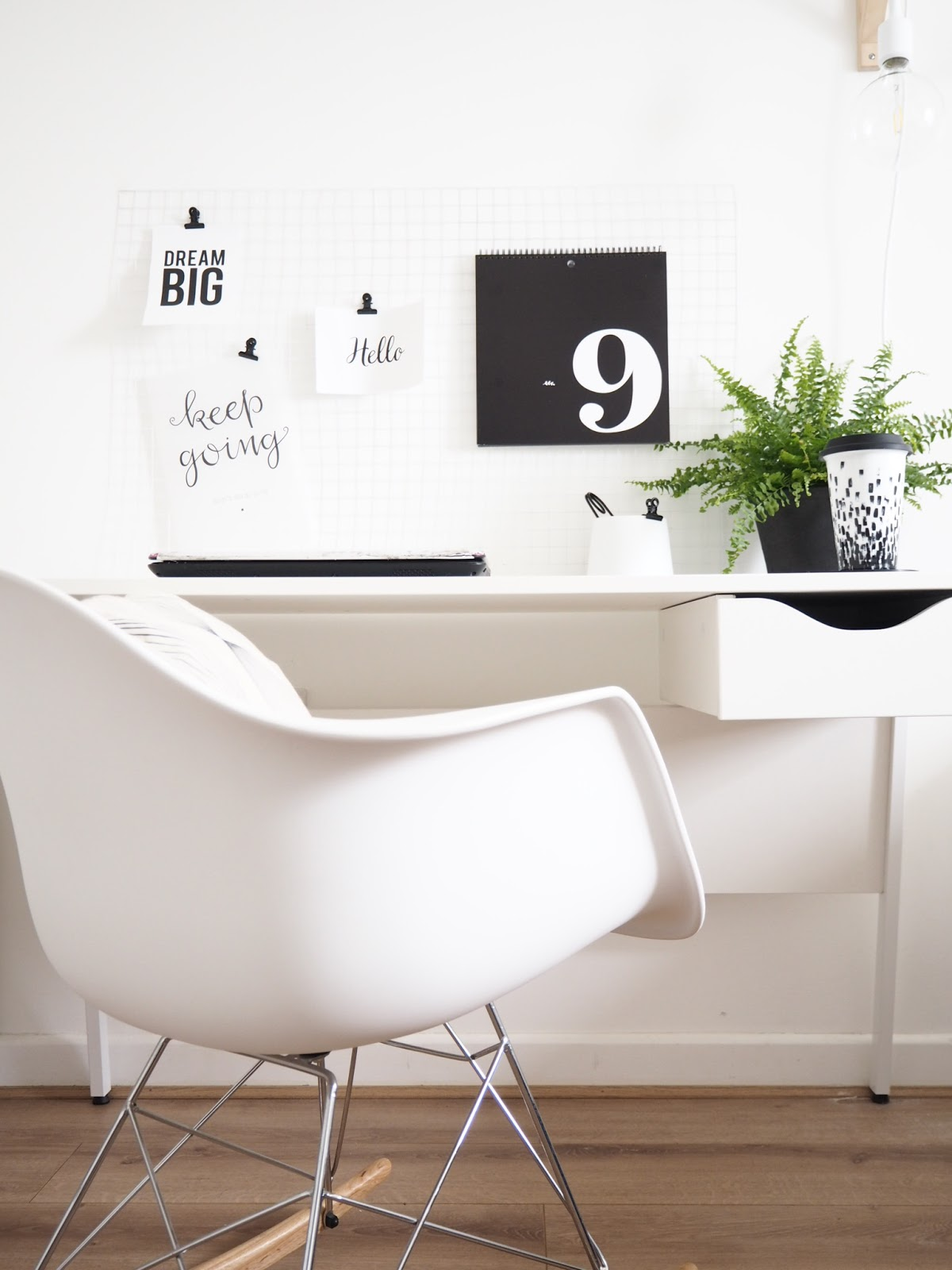 A black and white office space by All Things Amy