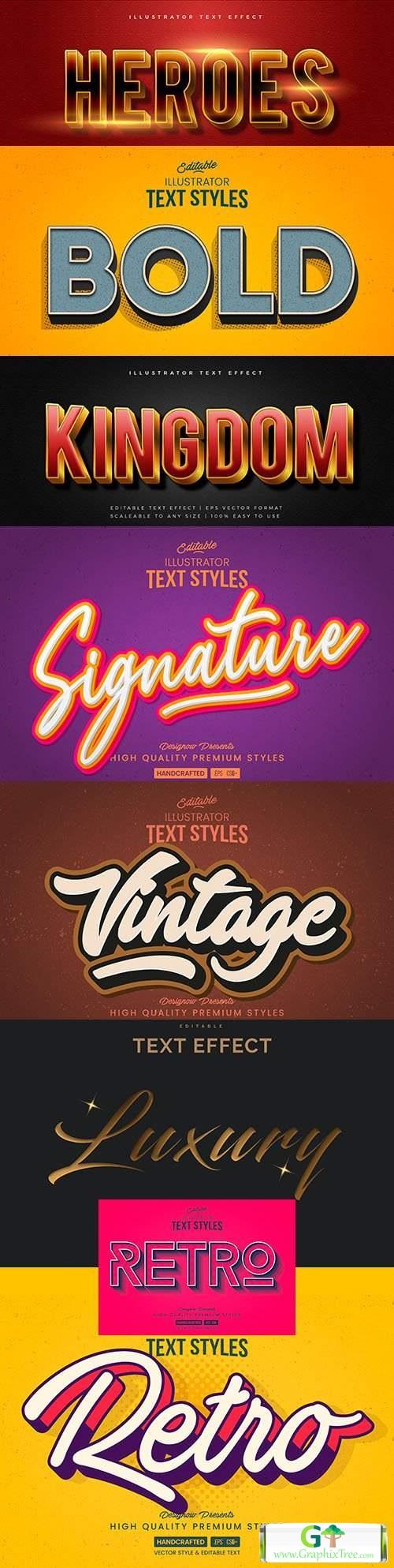 Editable font effect text collection illustration design 210