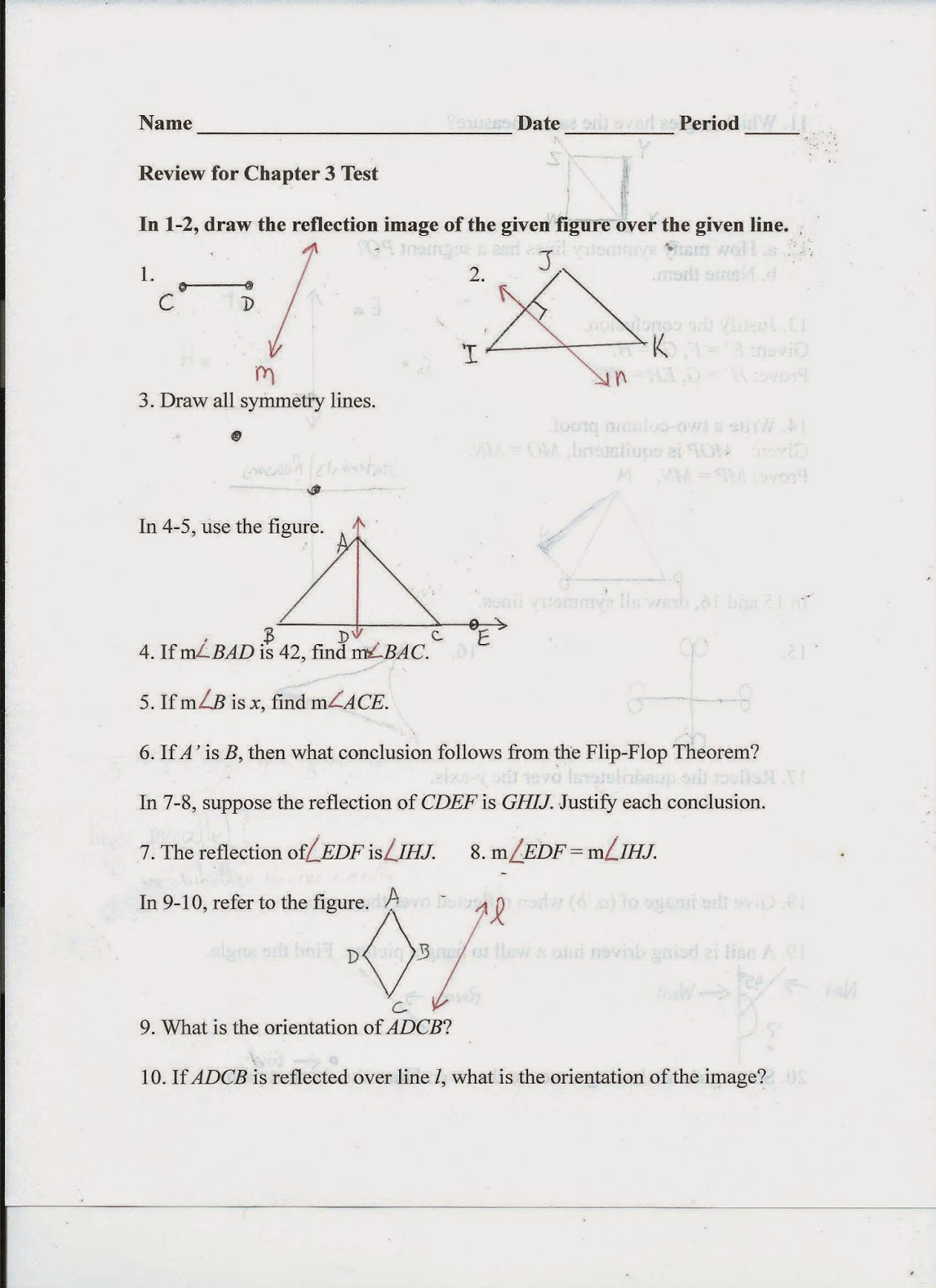 Geometry Common Core Style Review For Chapter 3 Test
