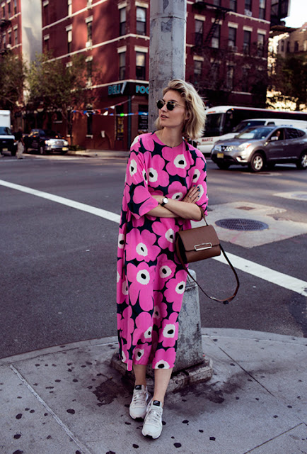 floral dress and sneakers