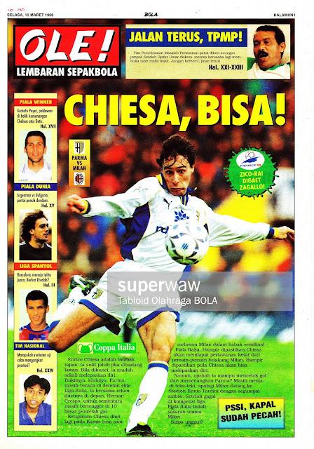 ENRICO CHIESA PARMA VS AC MILAN 1998