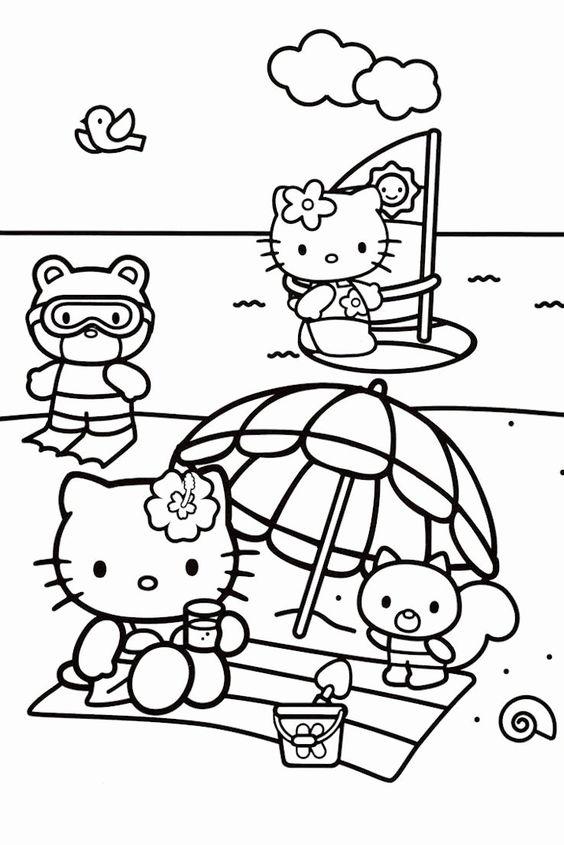 Tranh tô màu mèo hello kitty đi biển