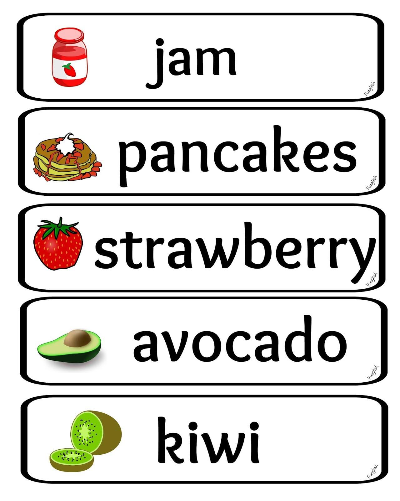Food Wordcards Amp Worksheets Funglish