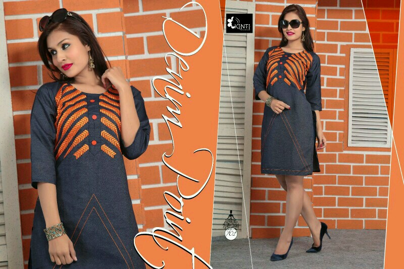 Denim Point – Straight Denim Embroidery Designer Kurti