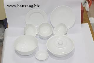 Bộ đồ ăn men trắng cao cấp của Gốm sứ Bát Tràng