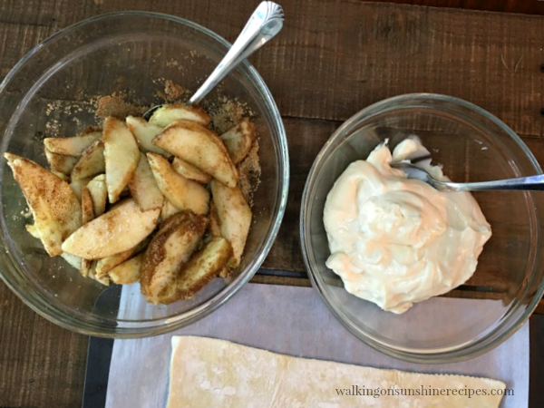 Apples and Cream Cheese ready to spread on Apple Braid from Walking on Sunshine Recipes