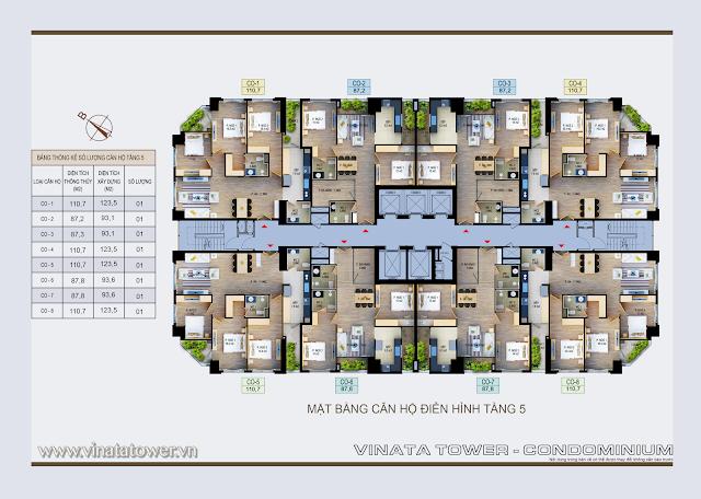 Mặt bằng điển hình tầng 5 chung cư Vinata Tower