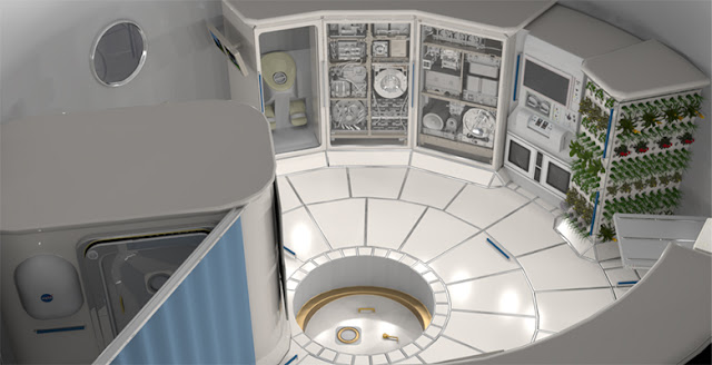 Illustration of the interior of a deep space habitat. Photo courtesy: NASA