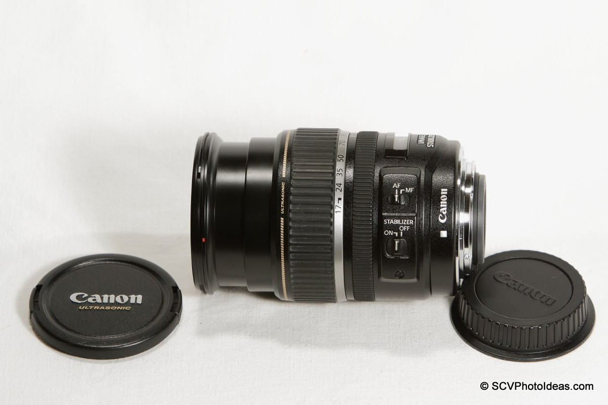 Canon EF-S 17-85mm F/4.0-5.6 IS USM caps removed - extended