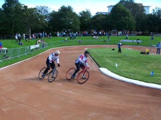 Cycle Speedway at the British Veterans over 50s and over 60s Individual Championships in Redbraes Park, Edinburgh