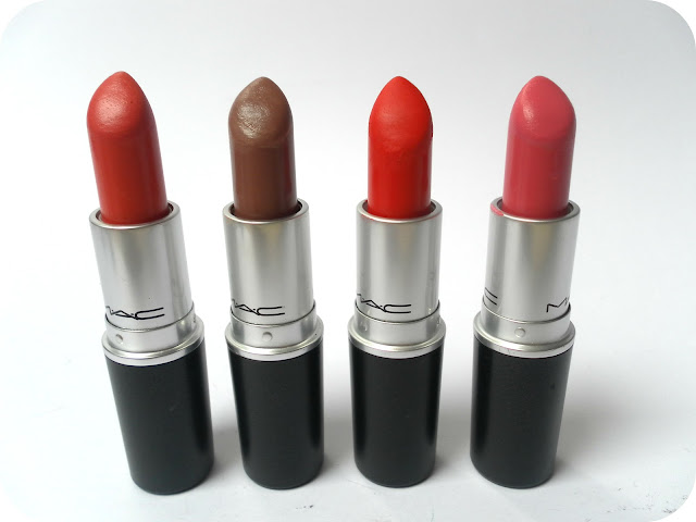 A picture of MAC lipsticks in Vegas Volt, Hug Me, Lady Danger and Chatterbox