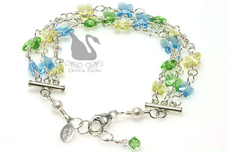 Floating Crystal Butterfly Bracelet B174 in Aqua Blue Peridot Green Yellow Jonquil