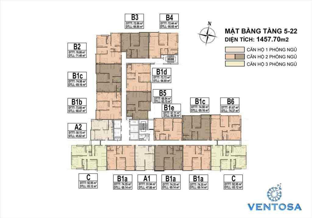 Mặt bằng tầng điển hỉnh 5 - 22 dự án Ventosa